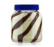 Schokolade und Erdnussbutter im Glas Lizenzfreie Stockfotos