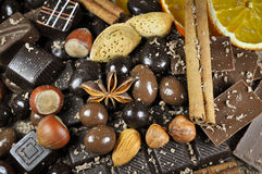 Schokolade und Gewürze stockfotos