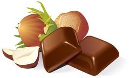 Schokolade und Haselnussaufbau Stockbild