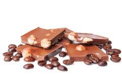 Schokolade und Kaffeebohnen Stockfotos