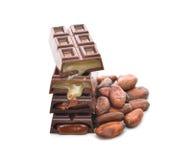Schokolade und Kakaobohnen Lizenzfreie Stockfotos