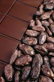 Schokolade und Kakaobohnen Stockfotografie