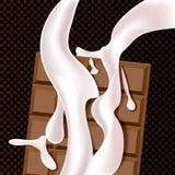 Schokolade und Milch fließt Realistische Abbildung Lizenzfreie Abbildung
