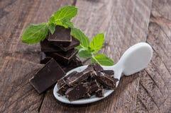 Schokolade und Minze auf Holz lizenzfreie stockbilder