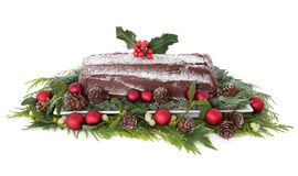 Schokolade Yule Log lizenzfreie stockfotografie
