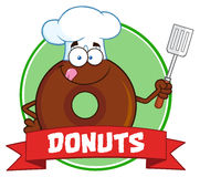 Schokoladen-Chef-Donut Cartoon Character-Kreis-Aufkleber mit Text Lizenzfreies Stockbild