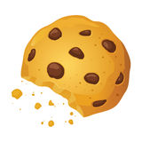 Schokoladen-Chip Cookies With Bite Mark-Vektor-Illustration Stockfotografie