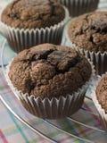 Schokoladen-Chip-Muffins auf a-abkühlender Zahnstange Stockfoto