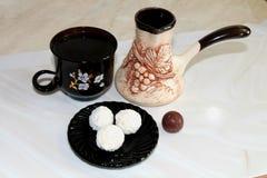 Schokoladen des schwarzen Kaffees Stockfotografie