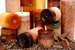 Schokoladen-duftende Kerzen Lizenzfreie Stockfotos