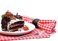 Schokoladen-Erdbeere-Kremeis-Kuchen Lizenzfreies Stockfoto
