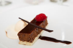 Schokoladen-Gebäck mit dem Vanilleeis geschmückt mit Himbeere Lizenzfreie Stockfotos