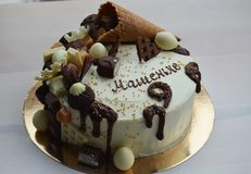 Schokoladen-Geburtstags-Kuchen Stockbild