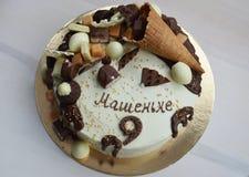 Schokoladen-Geburtstags-Kuchen Stockfotografie