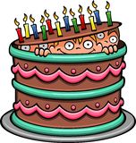 Schokoladen-Geburtstags-Kuchen Stockfotos