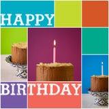Schokoladen-Geburtstags-Kuchen-brennende Kerzen-goldener geschnitzter Rahmen Stockbilder