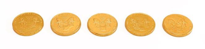 Schokoladen-Goldmünzen Lizenzfreies Stockbild