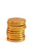 Schokoladen-Goldmünzen Stockfotografie