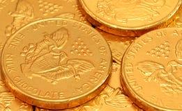 Schokoladen-Goldmünzen Lizenzfreie Stockfotografie