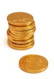 Schokoladen-Goldmünzen Stockbilder