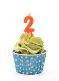 Schokoladen-kleine Kuchen mit Kerzen 2 Lizenzfreies Stockfoto