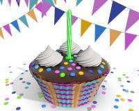 Schokoladen-kleiner Kuchen mit Gabel Stockfotografie