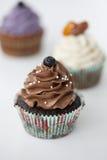 Schokoladen-kleiner Kuchen mit Gabel Lizenzfreie Stockbilder
