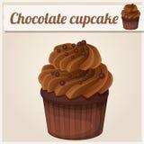 Schokoladen-kleiner Kuchen mit Gabel Ausführliche Vektor-Ikone Lizenzfreie Stockfotografie