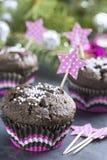 Schokoladen-kleiner Kuchen mit Schneeflocken im rosa Spannkorb Stockfotografie