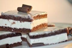 Schokoladen-Kuchen mit Milch-Sahne Lizenzfreies Stockfoto