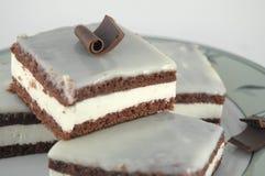 Schokoladen-Kuchen mit Milch-Sahne lizenzfreie stockfotos