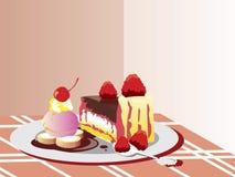 Schokoladen-Kuchen-Nachtisch stock abbildung