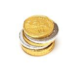 Schokoladen-Münzen, getrennt lizenzfreies stockfoto