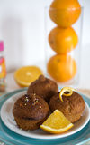 Schokoladen-Orangen-kleine Kuchen Stockfotografie