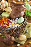 Schokoladen-Osterhase in einem Korb lizenzfreie stockbilder