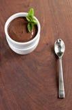 Schokoladen-Pudding mit Minze Lizenzfreie Stockbilder