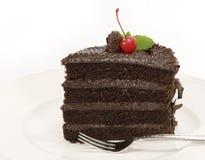 Schokoladen-Schicht-Kuchen - Scheibe Stockbild