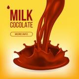 Schokoladen-Spritzen-Vektor Creme, Flüssigkeit Milch-Strudel Abstrakte Abbildung Getränkenachtisch-Nahrung realistische Illustrat lizenzfreie abbildung