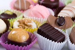 Schokoladen u. Bonbons Stockfoto