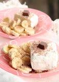 Schokoladen-und Bananen-Eiscreme Stockbilder
