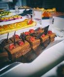 Schokoladen- und Erdbeernachtisch Stockbilder