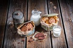 Schokoladen- und Erdnussplätzchen mit Milch Lizenzfreies Stockfoto