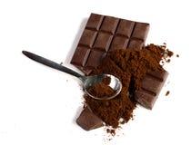 Schokoladen- und gemahlenerkaffee Stockfoto