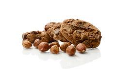 Schokoladen-und Haselnuss-Plätzchen Stockfotografie