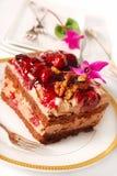 Schokoladen- und Kirschkuchen mit Walnüssen lizenzfreies stockbild