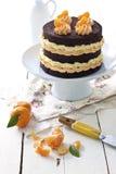 Schokoladen- und Mandarinekuchen Lizenzfreie Stockbilder