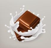Schokoladen- und Milchspritzen Schokolade und Jogurt Ikone des Vektor 3d Lizenzfreies Stockbild