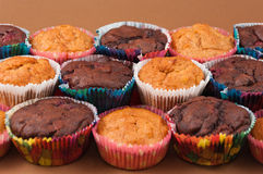 Schokoladen- und Vanillemuffins Lizenzfreie Stockbilder