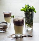 Schokoladen- und Vanillepudding mit Kakao und süßer Minze Stockfotografie