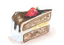 Schokoladenbananenkuchen mit Soße und Erdbeere Stockbild